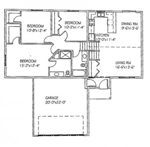 The Basswood IIII: 3 bed, 2 bath floor plan