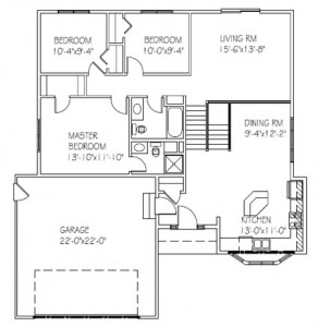 The Mapleridge Deluxe: 3 bed, 2 bath floor plan