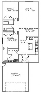 Patio Twin Home: 3 bed, 1 bath floor plan