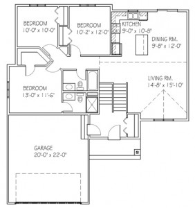 The Hickory: 3 bed, 2 bath floor plan