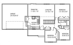 The Autumnridge: 3 bed, 1 bath floor plan