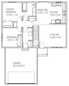 The Cedar: 2 bed, 1 bath floor plan