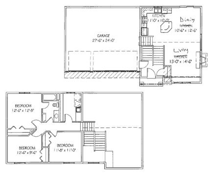 The Cottonwood: 3 bed, 2 bath floor plan