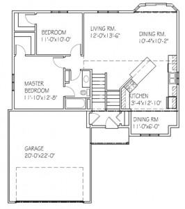 The Oakview II: 2 bed, 1 bath floor plan