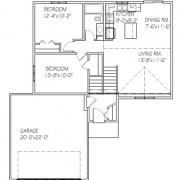 The Teakwood: 2 bed, 1 bath floor plan