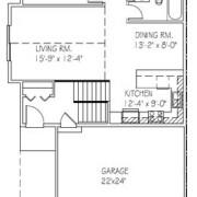 Twin Home: 2 bed, 1 bath floor plan