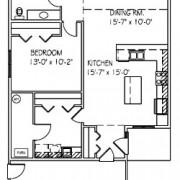 Patio Twin Home: 3 bed, 1 bath floor plan