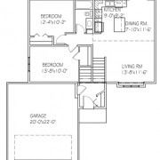 The Willow: 2 bed, 1 bath floor plan