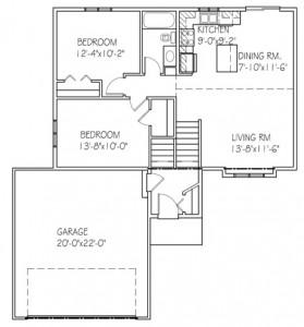 The Willow: 2 bed, 1 bath floor plan